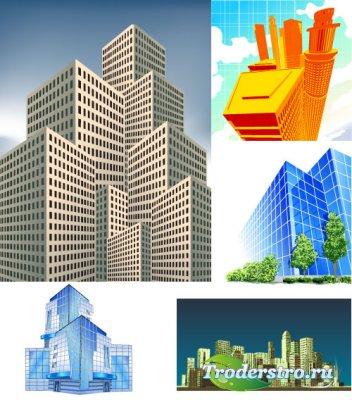 Фрагмент города и синие небоскребы (Вектор)