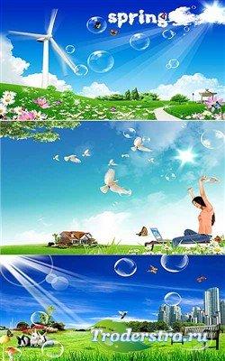 Лето с мыльными пузырями (многослойные PSD)