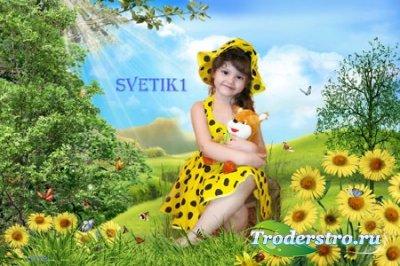 Детский шаблон для фото - На цветочной полянке