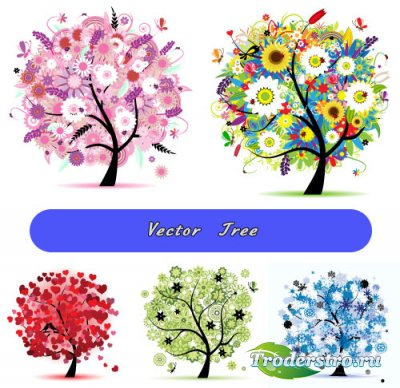 Красочные цветочные деревья (Вектор)