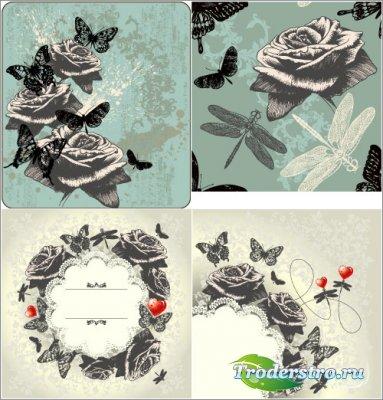 Геральдические розы с черными бабочками (Вектор)