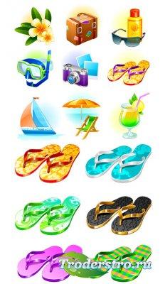 Модные пляжные шлепанцы (Вектор)