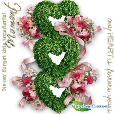 Вырез-рамка - Цветочное сердце