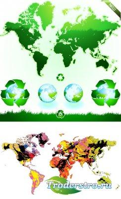 Зеленые эко карты мира глобусы (Вектор)