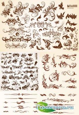 Декоративные элементы листья (Вектор)