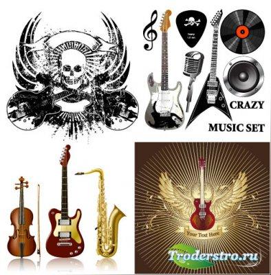Музыкальные инструменты - Саксофон, гитара, скрипка (Вектор)