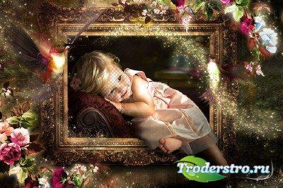 Детский шаблон для фотографий - Портрет девочки