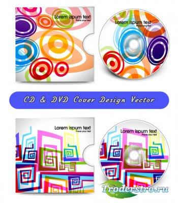 Красочный дизайн обложек для лазерных CD, DVD, Blu-Ray дисков (Вектор)