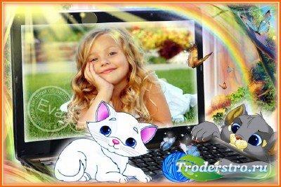 Детская рамка для фотошопа - Маленькие котята