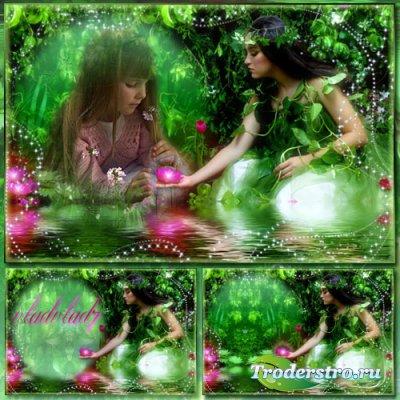 Фантазийная рамка для фотошопа - Речная нимфа и волшебная кувшинка