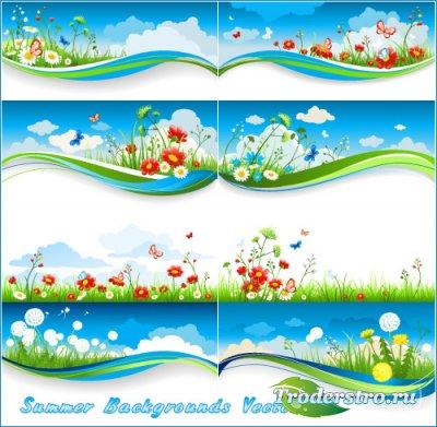 Цветочная поляна на фоне голубого неба (Вектор)