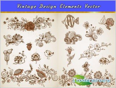 Цветы, улитка, птицы, рыбы в винтажном стиле (Вектор)