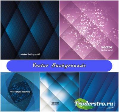 Темно-синие ромбиковые фоны (Вектор)