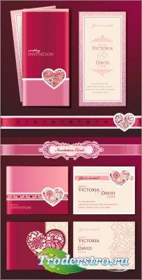 Свадебные вишневые карточки с именами новобрачных (Вектор)