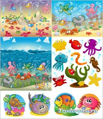 Морские обитатели - Осьминог, медуза, морская звезда (Вектор)