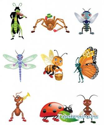 Мультяшные персонажи - Кузнечик, бабочка, пчела, муравей (Вектор)