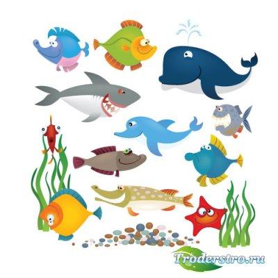 Кит, акула, дельфин, рыбки (Вектор)