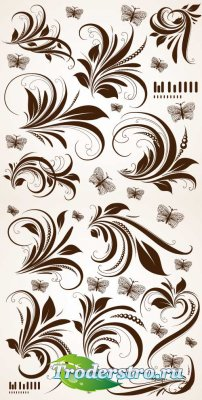 Цветочные кружевные листья (Вектор)