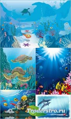Подводный мир - Стаи разноцветных рыб, морские кони, черепахи (Вектор)