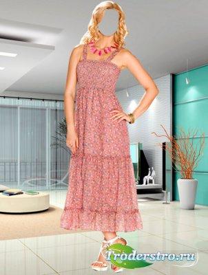 Шаблон для фотошопа – Женщина в летнем платье