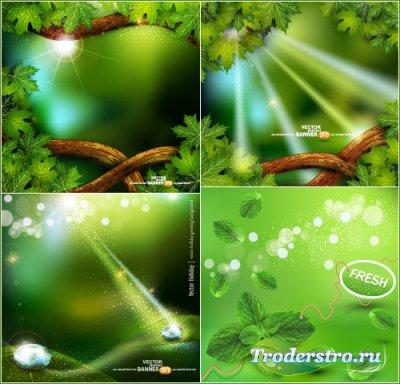 Лучи солнца сквозь кленовые листья (Вектор)