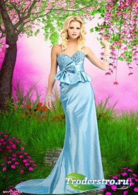 Женский шаблон - Очаровательная  и таинственная  девушка  в голубом вечерне ...