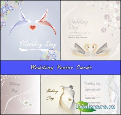 Абстрактные свадебные фоны Голуби и Лебеди (Вектор)