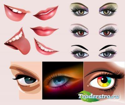 Женские губы с улыбкой и с радужными глазами (Вектор)