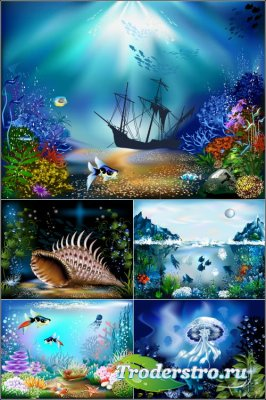 Затонувший корабль, морские ракушки, медузы, кораллы (Вектор)
