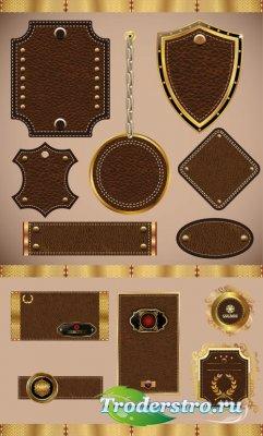 Коричневые кожаные бирки (Вектор)