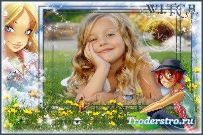Детская рамка для фотошопа - Чародейки