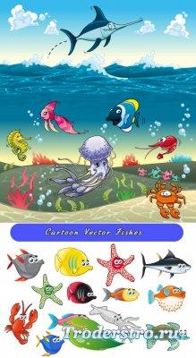 Детские морские рыбки акулы, лобстера, крабы, черепахи (Вектор)