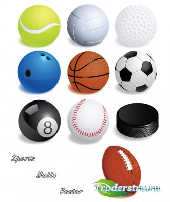 Все мячи и шайбы спортивных игр (Вектор)