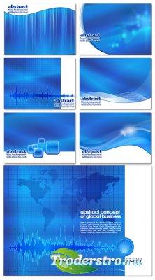 Голубые карточки глобального бизнеса (Вектор)