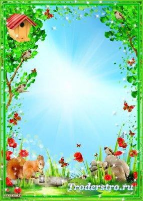 Детская рамка - Белочка на полянке с красными маками и бабочками