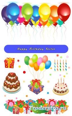 С днем рождения торты со свечами, цветные шары (Вектор)