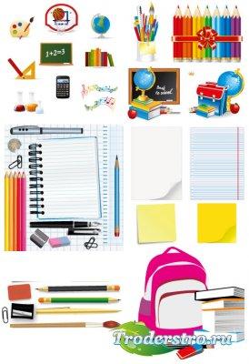 Цветные карандаши, учебники, тетради (Вектор)