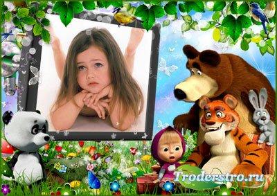 Фоторамка - Маша и медведь у телевизора