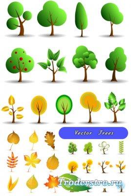 Летние зеленые и осенние желтые деревья (Вектор)