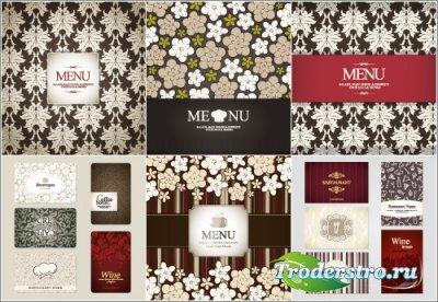 Ресторанные меню с белым орнаментом (Вектор)