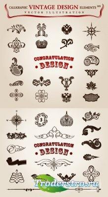 Старинные элементы для поздравительных открыток (Вектор)