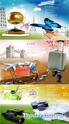 Отпуск - время путешествий (многослойные PSD)