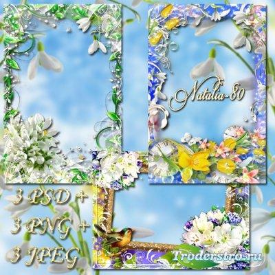 Сборник цветочных рамочек для оформления фото - Яркость весенних красок 3