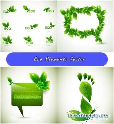 Эко следы из листьев со словами Eco (Вектор)