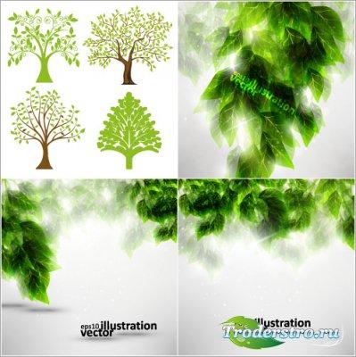 Летние деревья и темно-зеленые листья (Вектор)