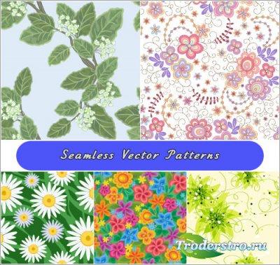 Цветущие ветки и цветы бесшовные паттерны (Вектор)