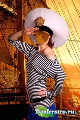 Шаблон для фотошопа – Девушка в форме моряка