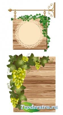 Деревянная вывеска с виноградным углом (Вектор)