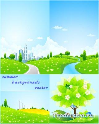 Летние пейзажи, дорога в город (Вектор)