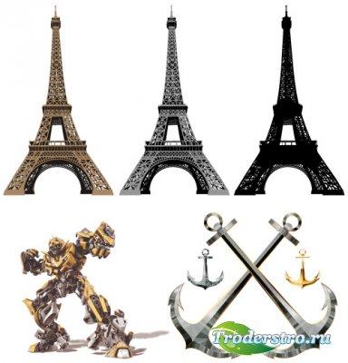 Эйфелева башня, якорь, трансформер (Вектор)